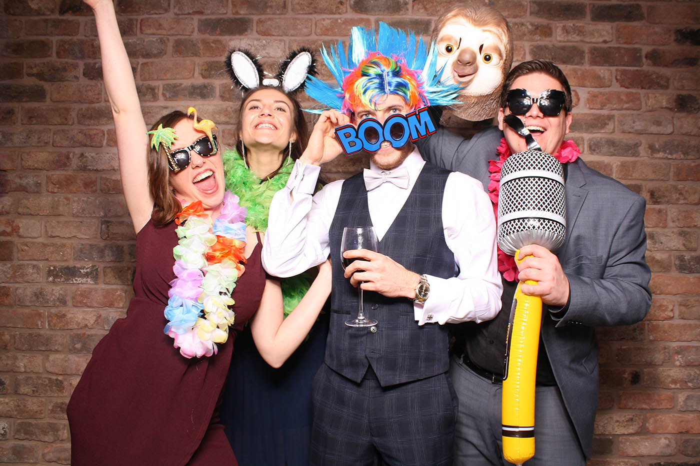 cheshire photobooth hire with brick wall background, open air photobooth